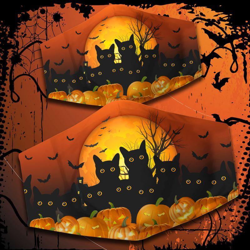 Black Cat and pumpkin Happy Halloween 3D face mask
