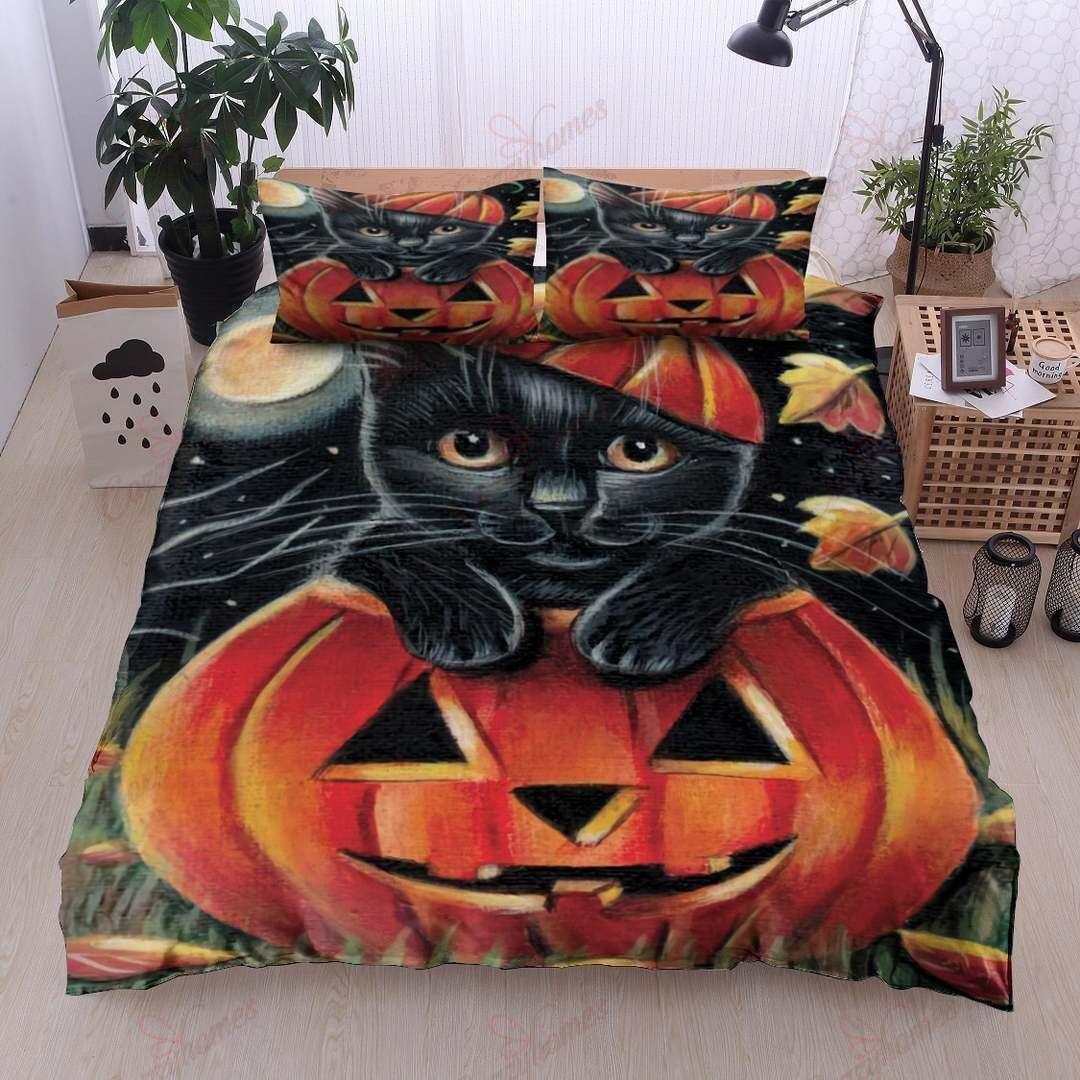 Black Cat Pumpkin Halloween Bedding Set