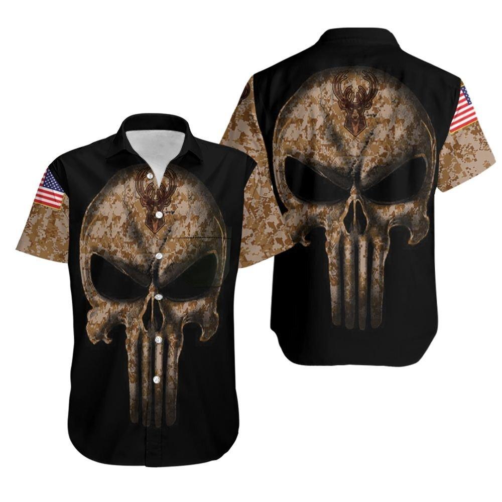 Camouflage Skull Milwaukee Bucks American Flag Hawaiian Shirt