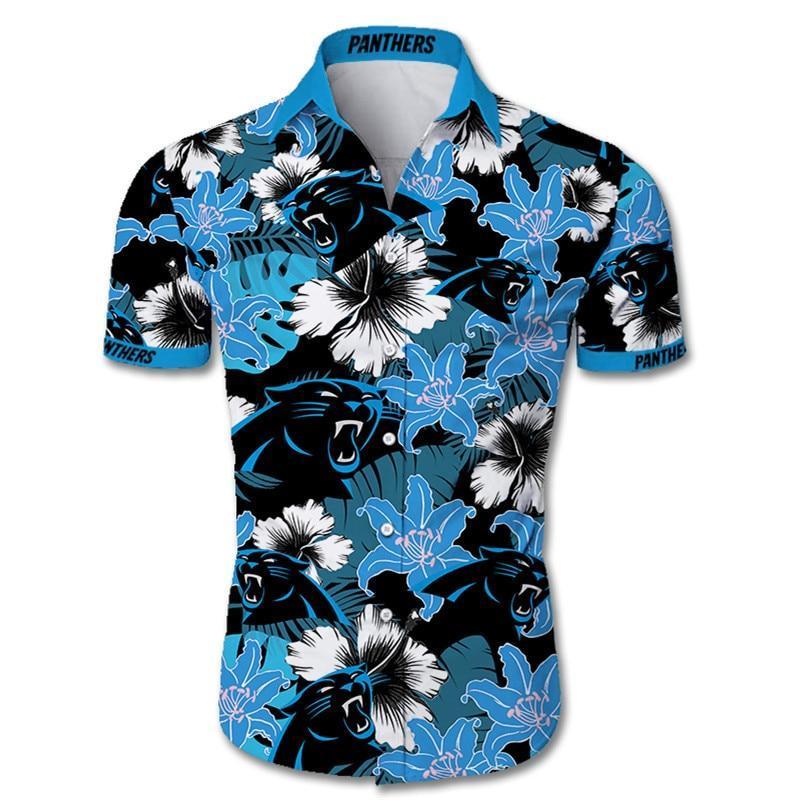Carolina Panthers Hawaiian Shirt Tropical Flower