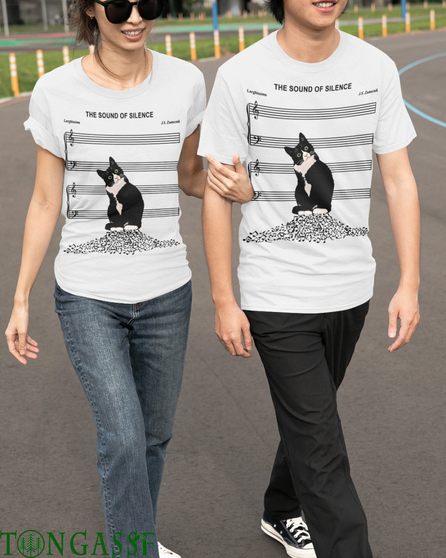 Cat four silence music notes t shirt.