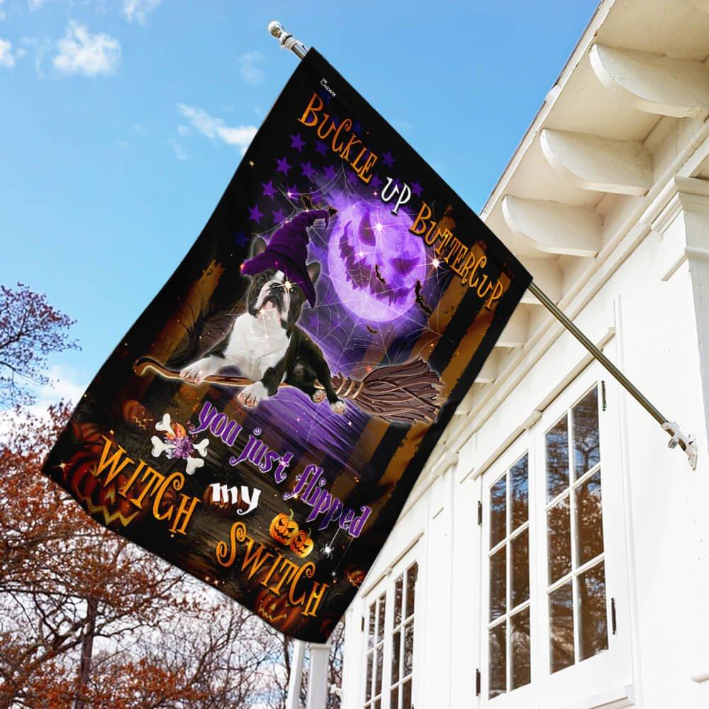 Boston Terrier Witch Switch flying broom Halloween Garden Flag House Flag
