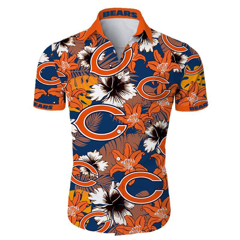 Chicago Bears Hawaiian Shirt Tropical Flower