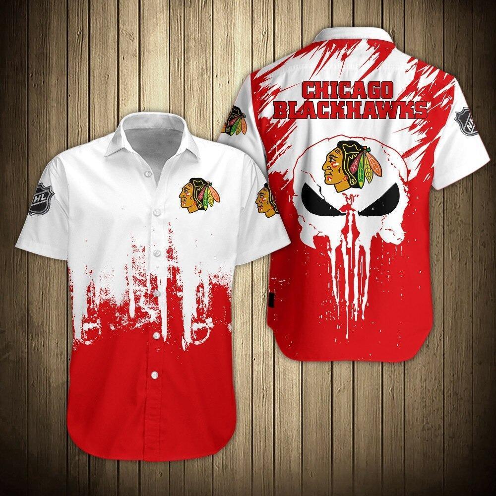 NHL Chicago Blackhawks Skull Short Sleeve Hawaiian Shirts