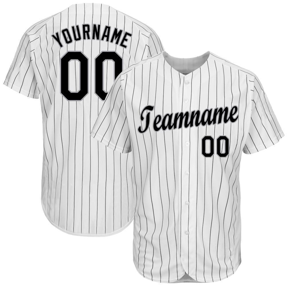 Personalized White Black Pinstripe Black-Gray Baseball Jersey