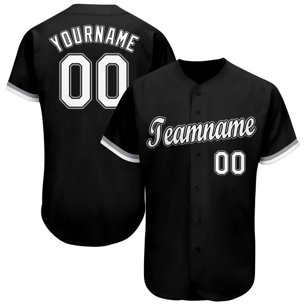 Personalized Black White-Gray Baseball Jersey for team
