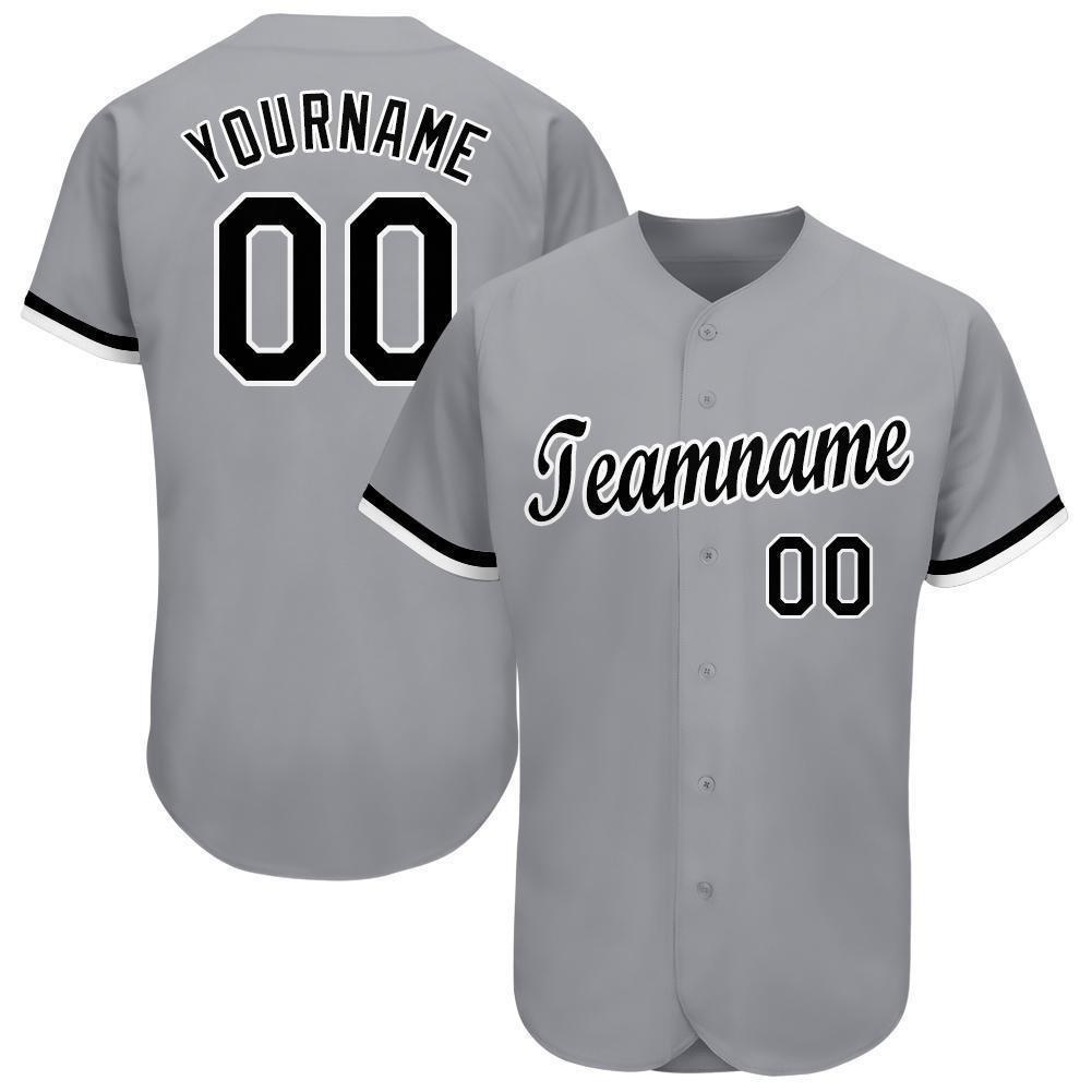 Custom Name and Number Gray Black-White Baseball Jersey