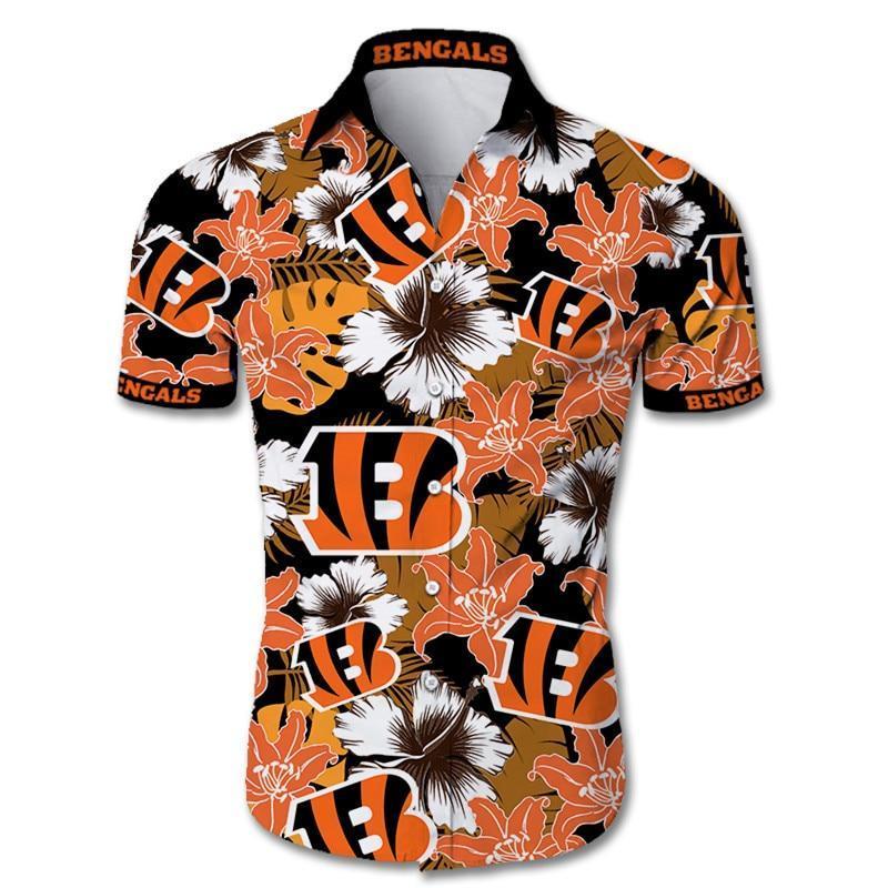 Cincinnati Bengals Hawaiian Shirt Tropical Flower