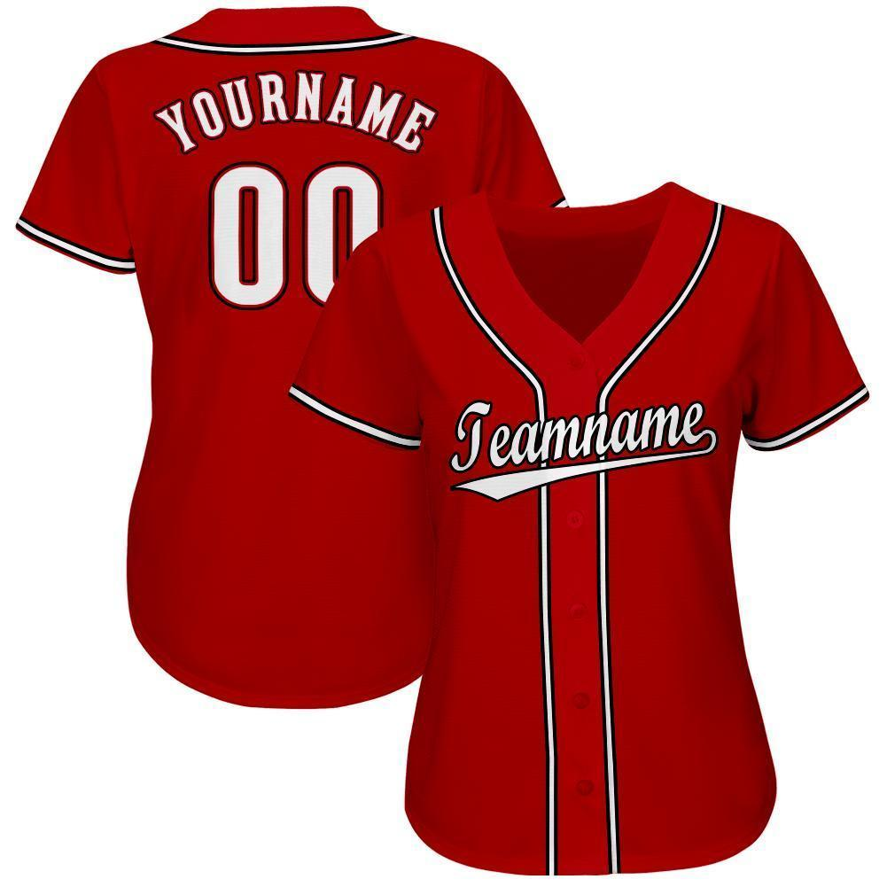 Personalized Red White-Black Baseball Jersey for team
