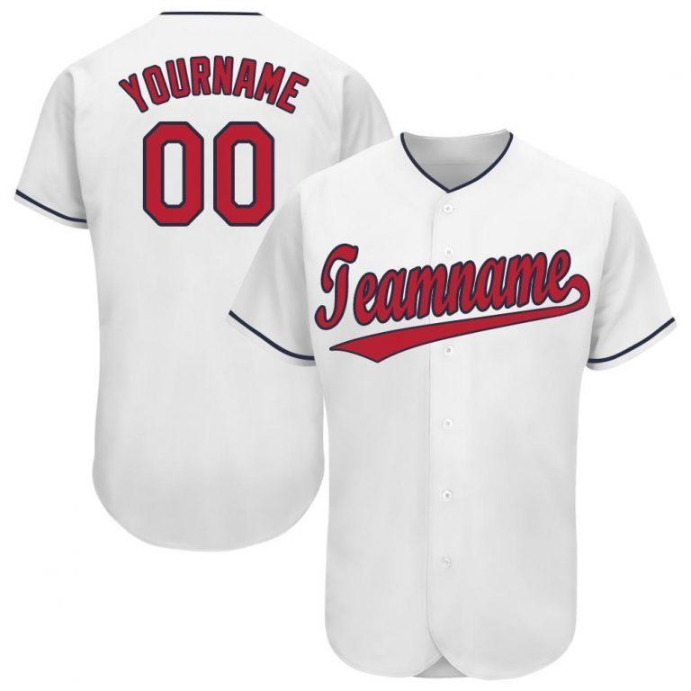 Custom White Red-Navy Baseball Jersey