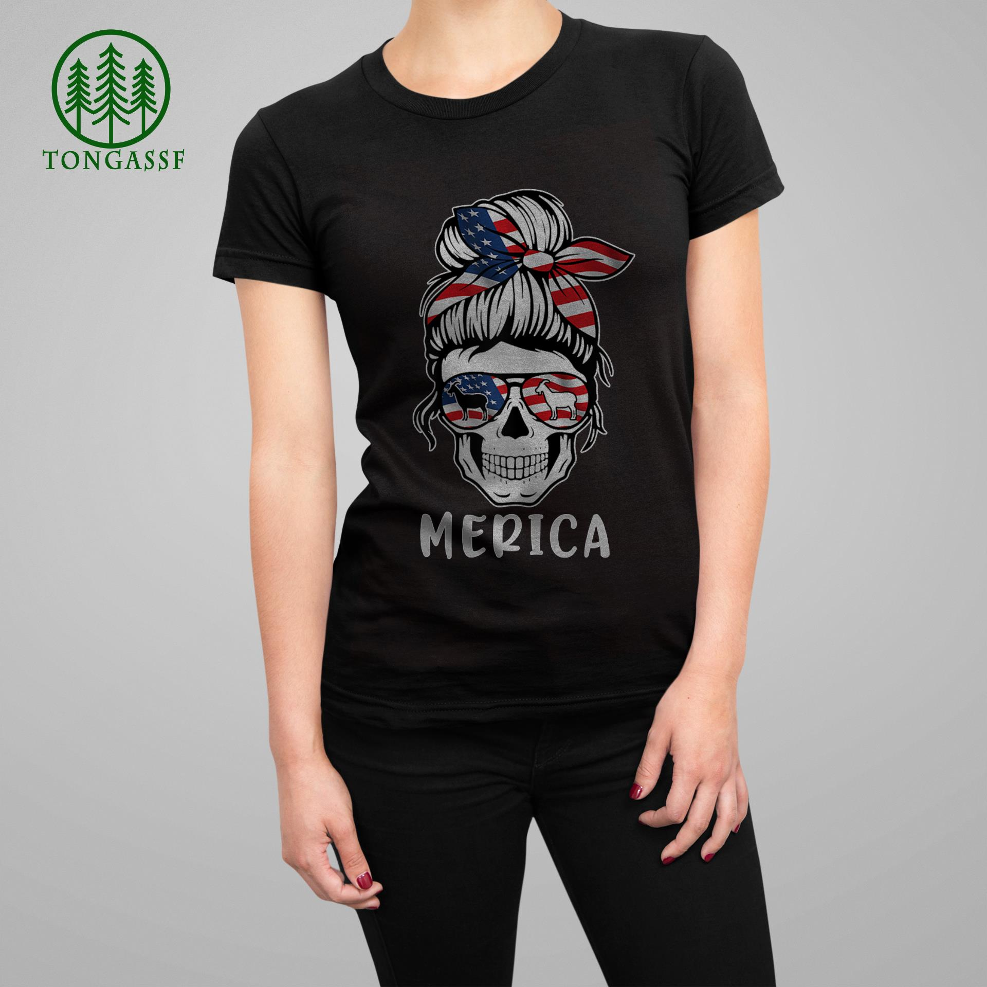 Womens Goat Merica 4th Of July Matching Tee Mother & Daughter T Shirt