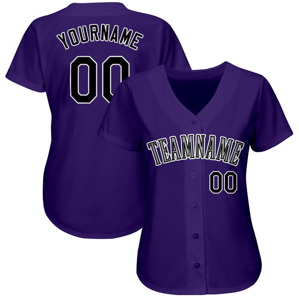 Personalized Purple Black-White Baseball Jersey Shirt