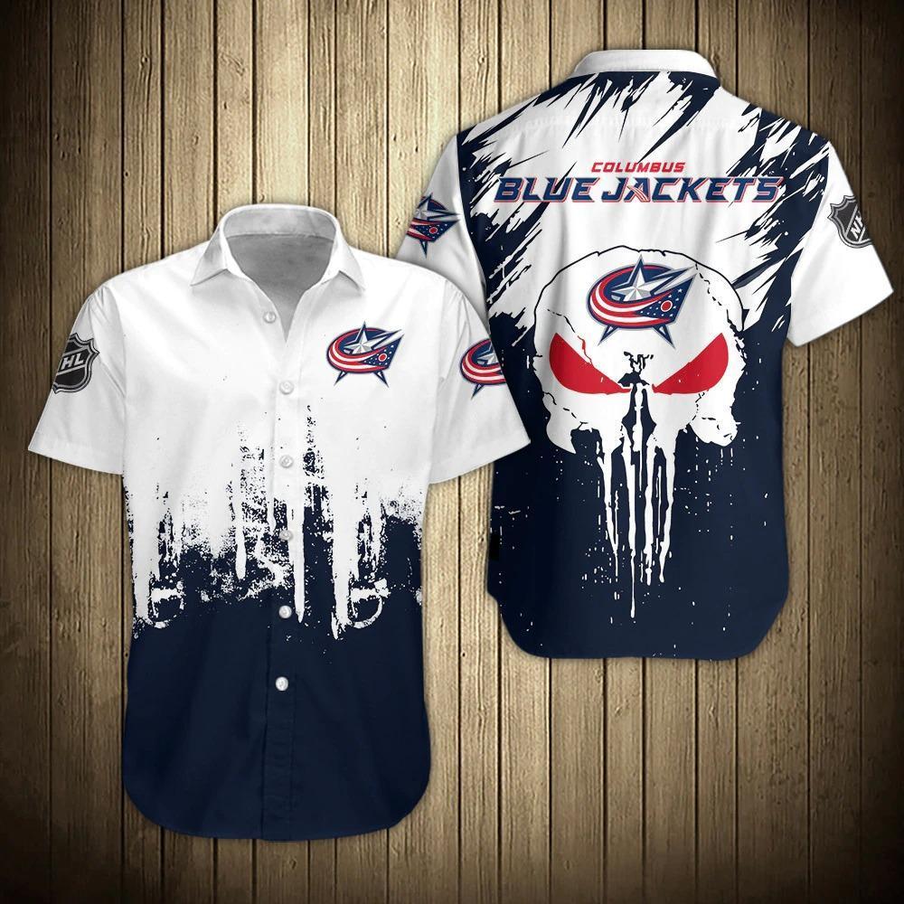 NHL Columbus Blue Jackets Skull Hawaiian Summer Shirt