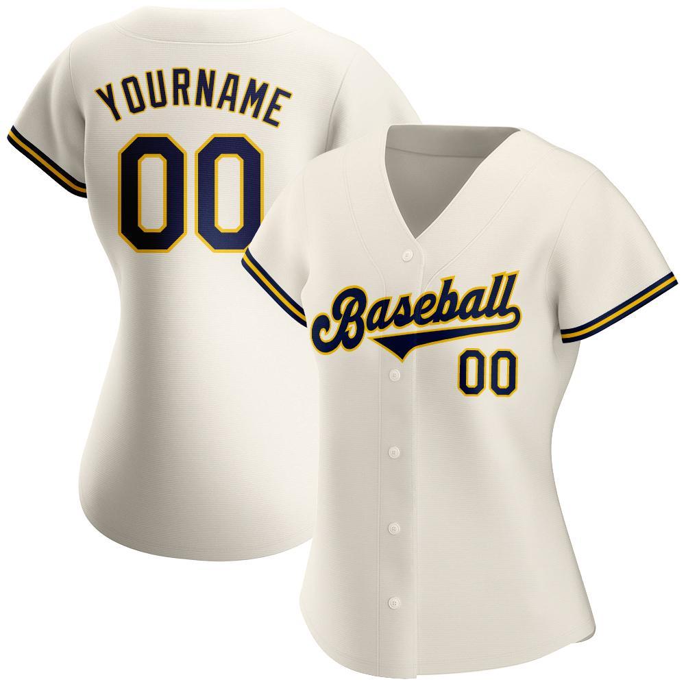 Custom Cream Navy-Gold Authentic Baseball Jersey