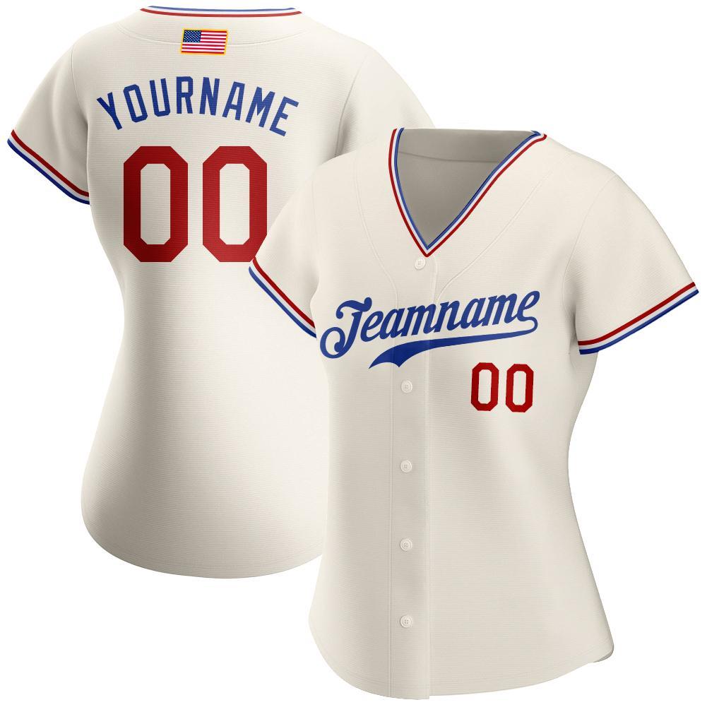 Custom Cream Red-Royal American Flag premium Baseball Jersey