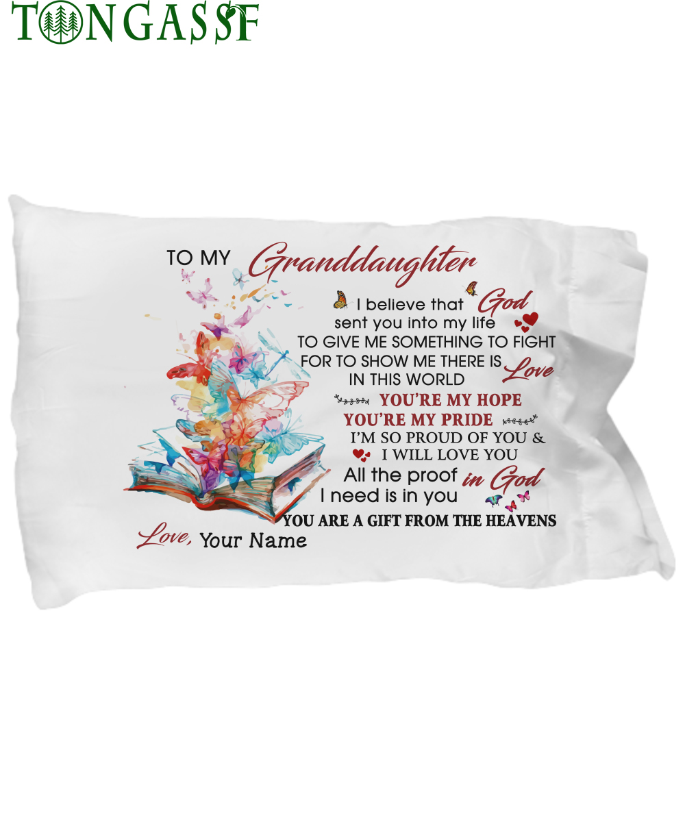 Custom butterfly from book love my granddaughter pillow case