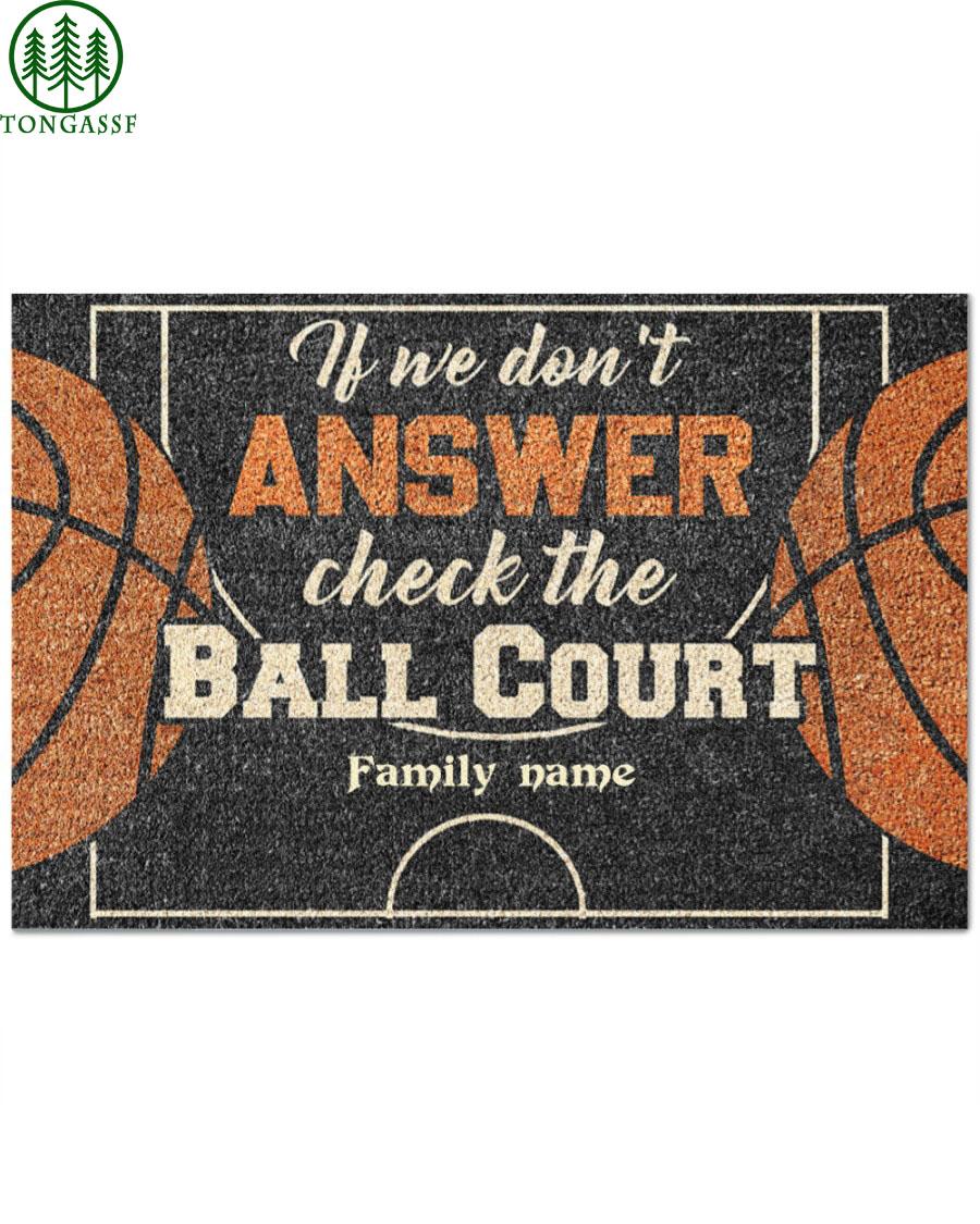 custom family name answer ball court basketball Doormat