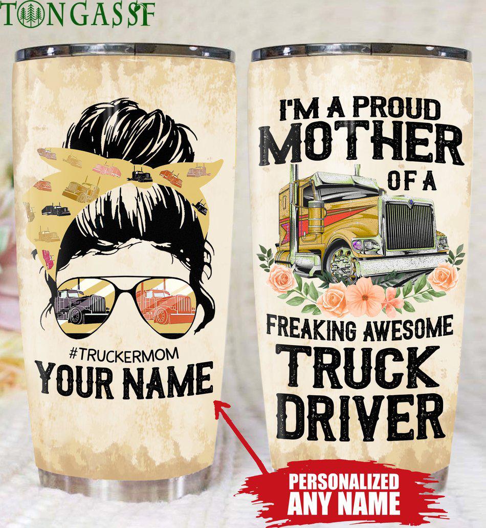 Custom flower Mother of Truck Driver Tumbler
