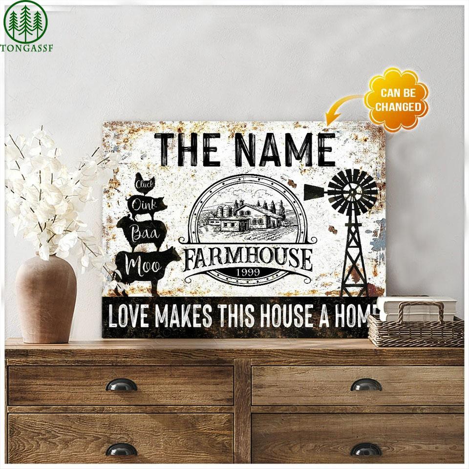 Custom name Farmhouse Canvas