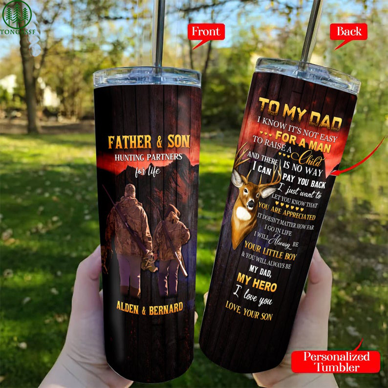 Customized Father And Son Hunting deers skinny Tumbler