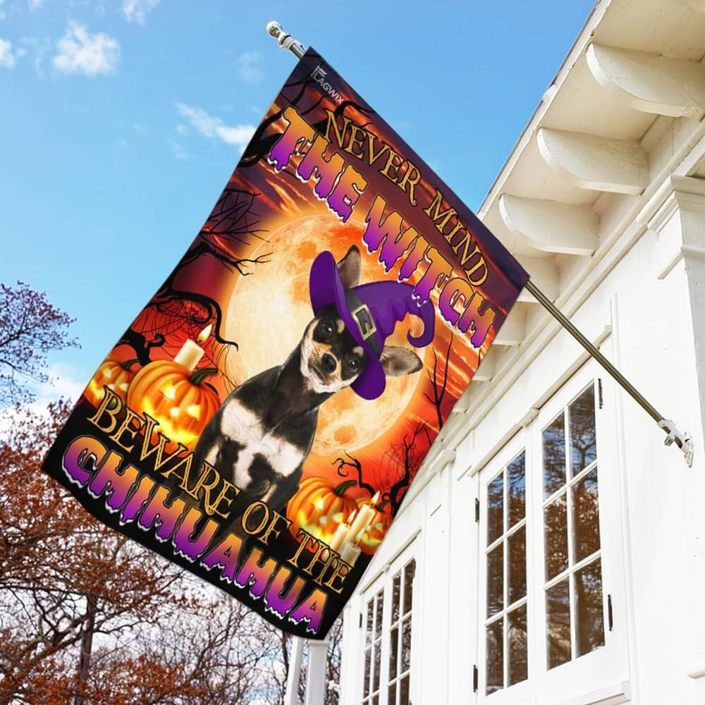 Halloween night Golden Moon Beware Of The Chihuahua Flag