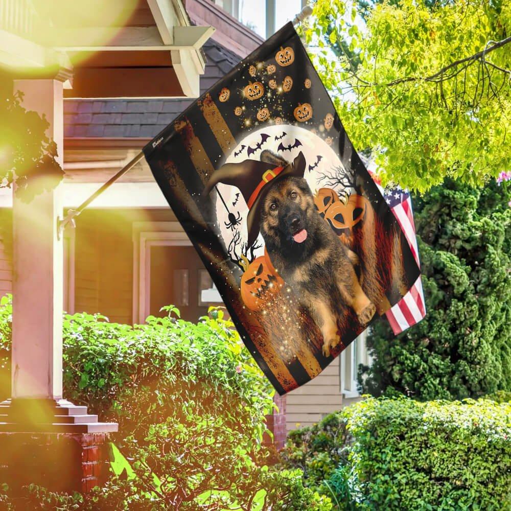 Halloween German Shepherd pumpkin and bat Decoration Flag