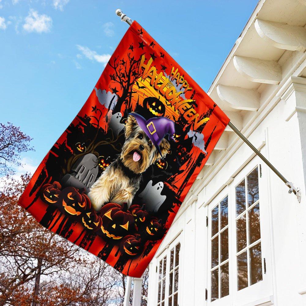 Yorkshire Terrier Happy Halloween House Flag Garden Flag