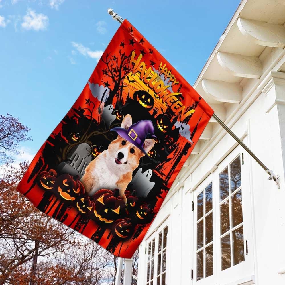 Corgi Happy Halloween night House Flag Garden Flag