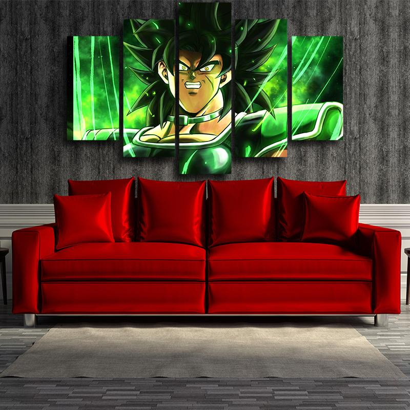 Dragon Ball The Legendary Broly Green 5 panel Canvas Print