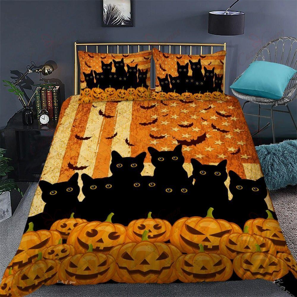 Black Cats pumpkin field American Flag Bedding Set