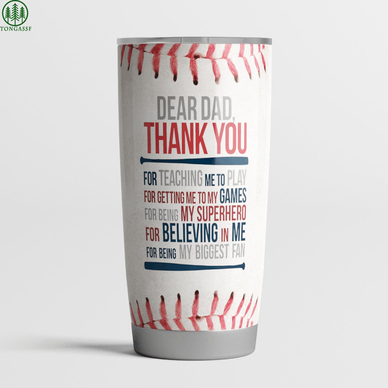 Dear Dad Baseball teaching games my superhero custom Tumbler