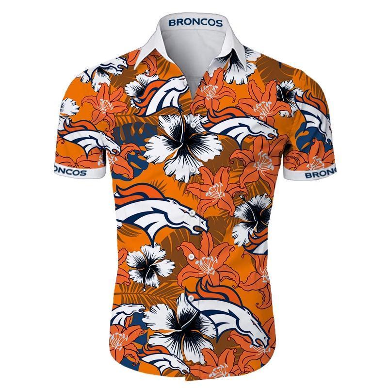 Denver Broncos Hawaiian Shirt Tropical Flower