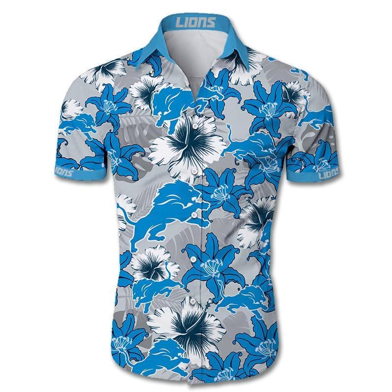 Detroit Lions Hawaiian Shirt Tropical Flower