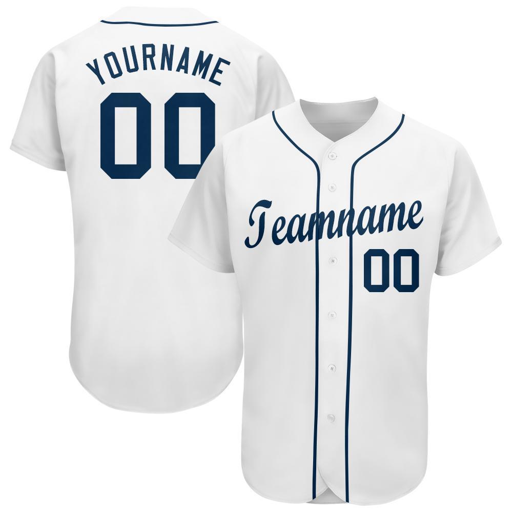 Custom White Navy Baseball Jersey