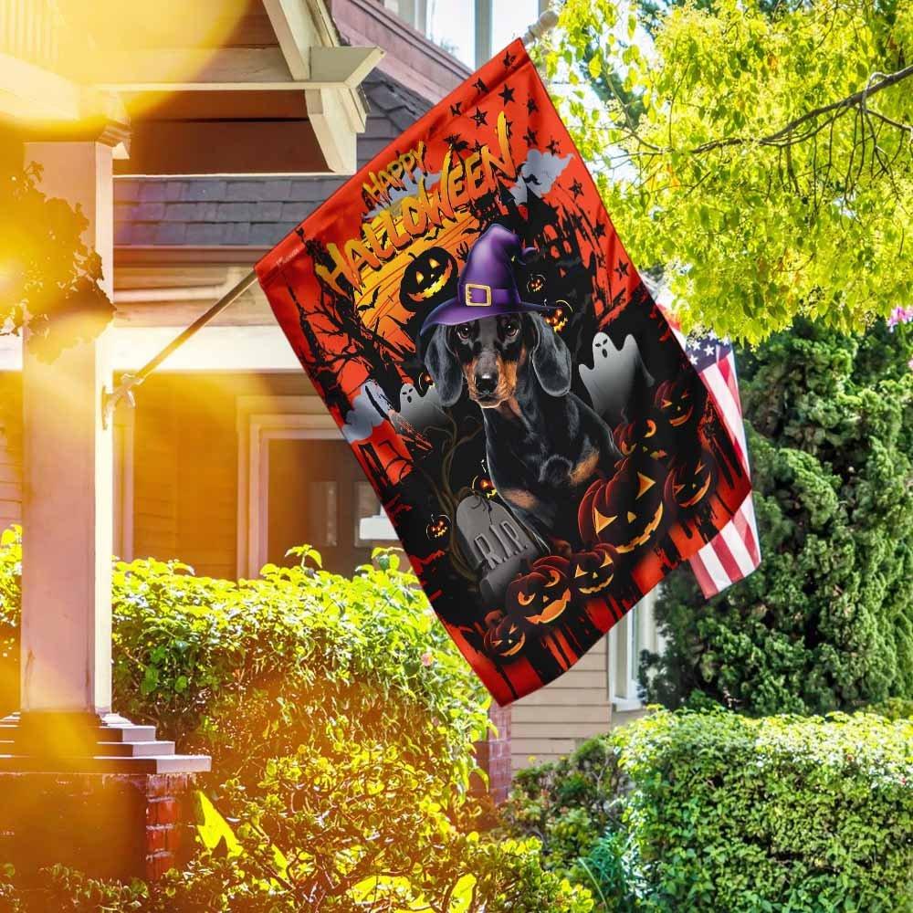 Dachshund Halloween night House Flag Garden Flag