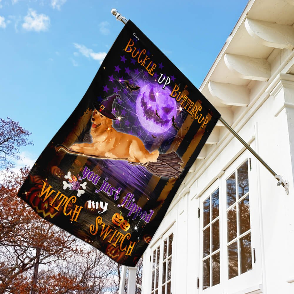 Golden Retriever Witch Switch flying broom Halloween Flag