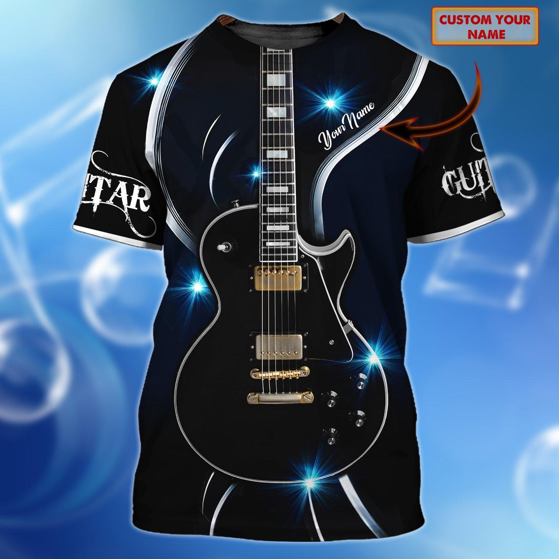 Guitar Lover Polished Black Custom3D T Shirt