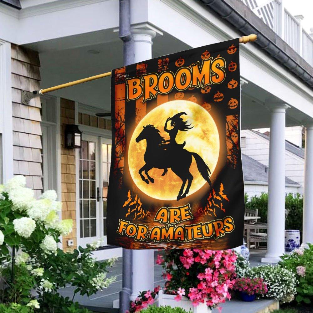 Brooms Are For Amateurs Horse Riding Goldon Moon House Flag Garden Flag