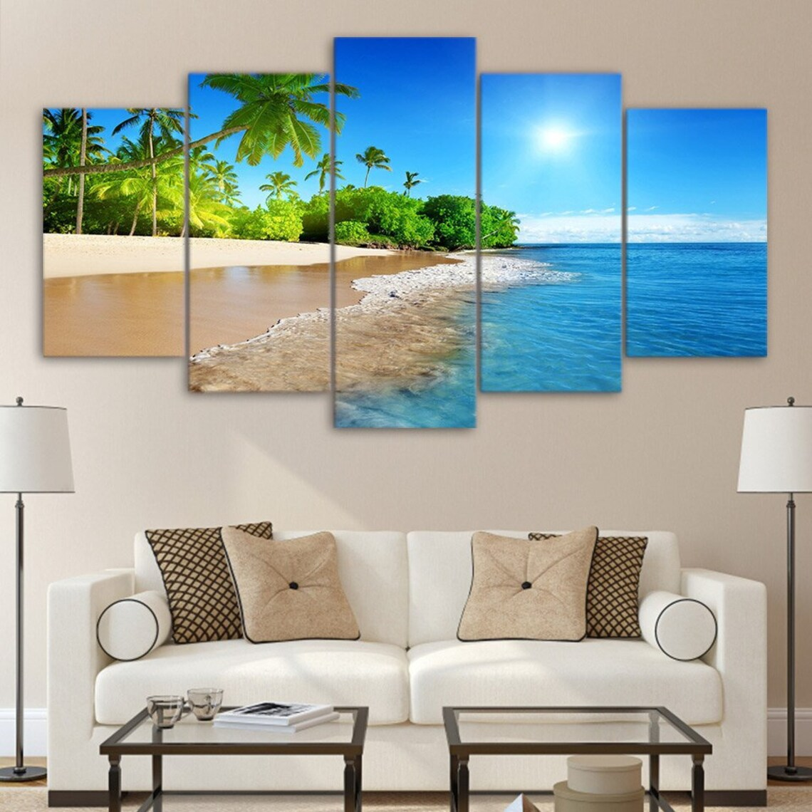 Tropical Beach Caribbean Vacation Landscape 5 Piece Five Panel Canvas Wall Art