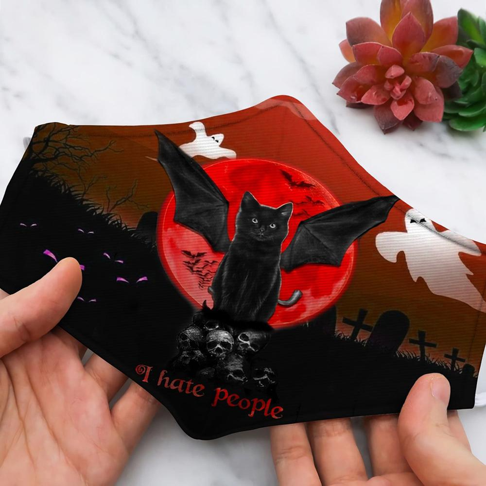 Halloween Cat red moon with skull I hate people Face Mask