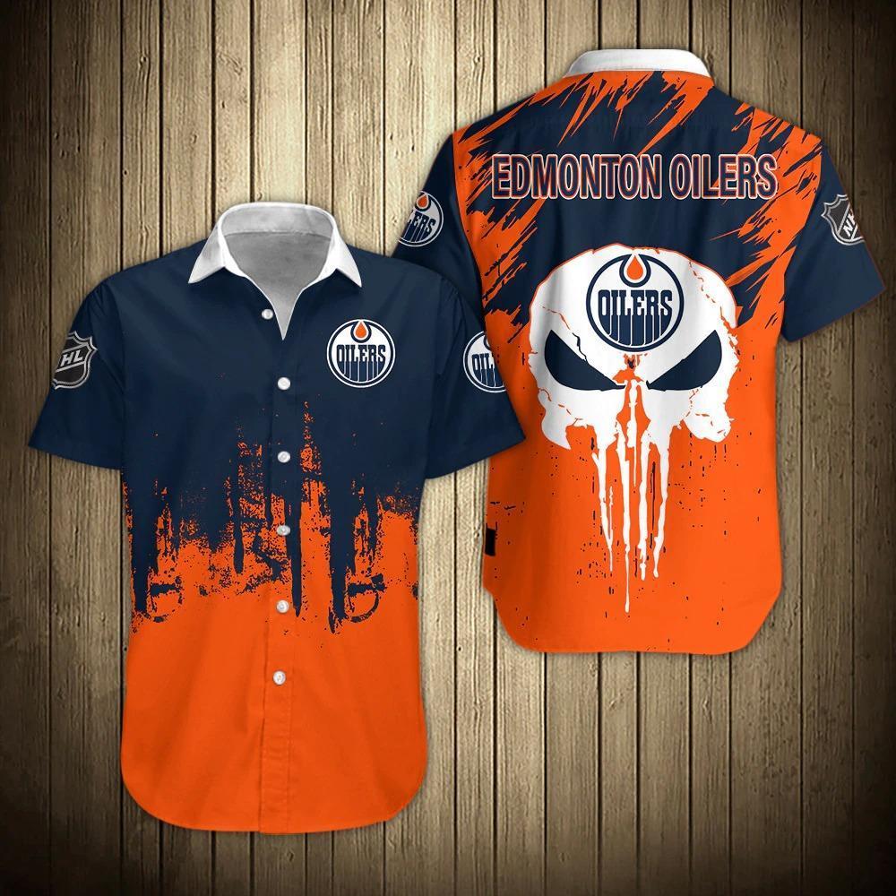 NHL Edmonton Oilers Skull Short Sleeve Hawaiian Shirts