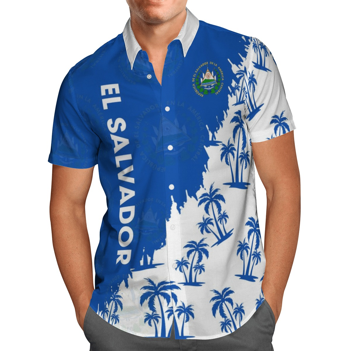 el salvador half blue and white hawaii shirt