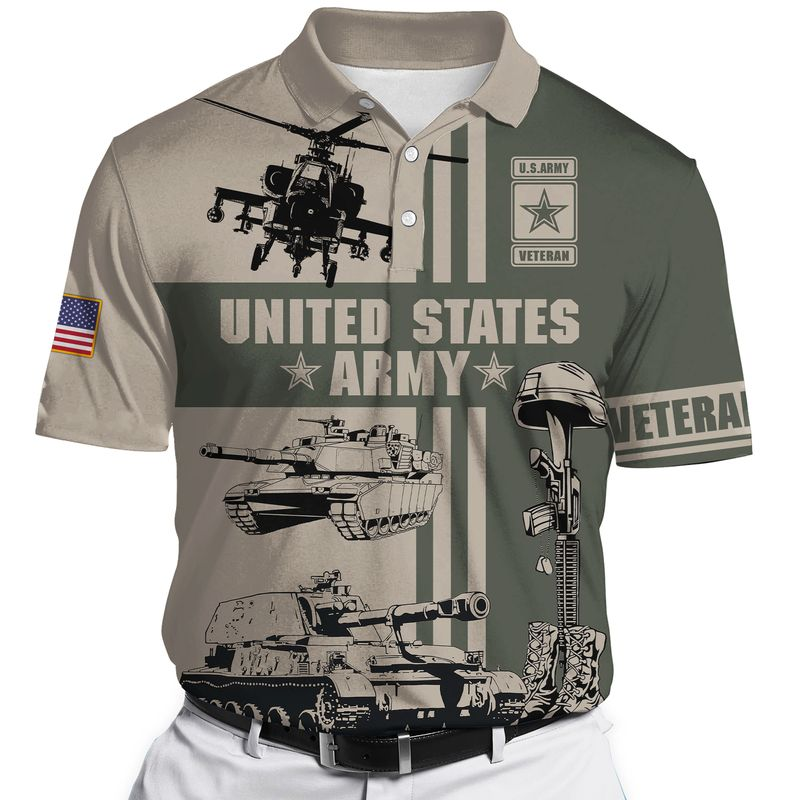 US Army veteran Tank helicopter Gun 3D shirt