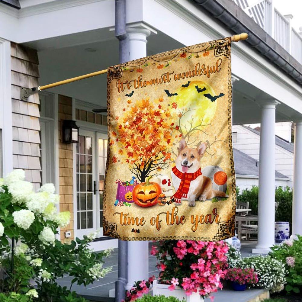 Corgi Halloween wonderful time Garden Flag House Flag