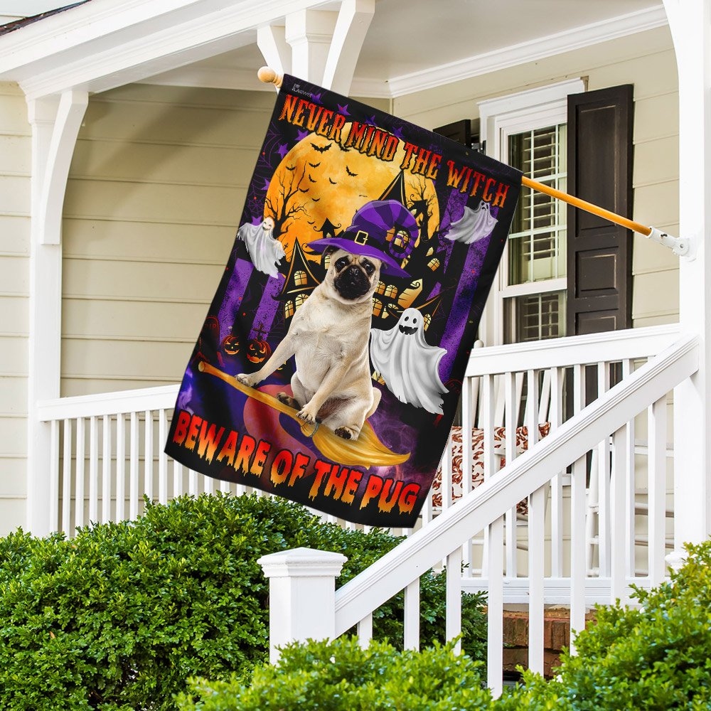 Never Mind The Witch Beware Of The Pug Golden Moon Flag