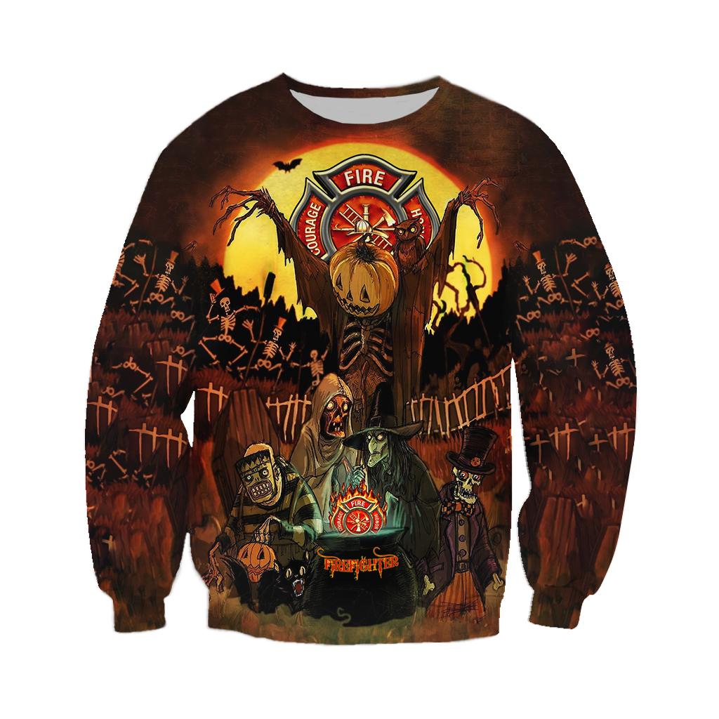 Firefighter Mummy Grave Halloween 3D Sweatshirt