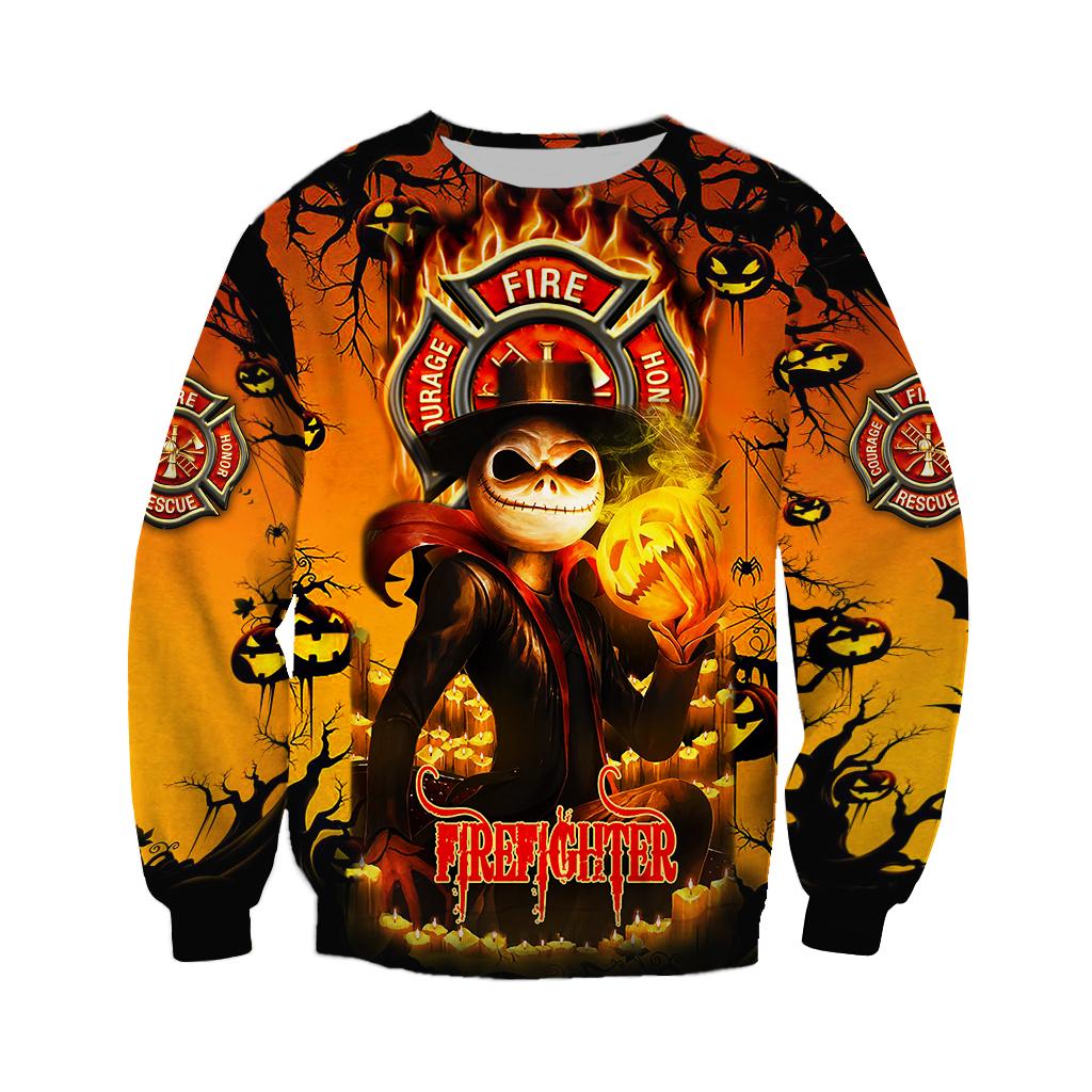 Firefighter Jack skellington Halloween 3D Hoodie
