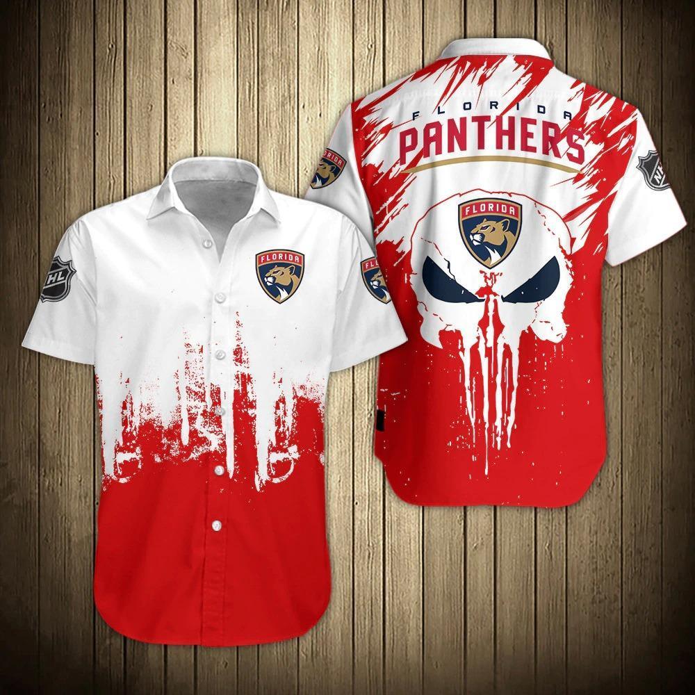 NHL Florida Panthers Skull Button Up Hawaiian Shirts