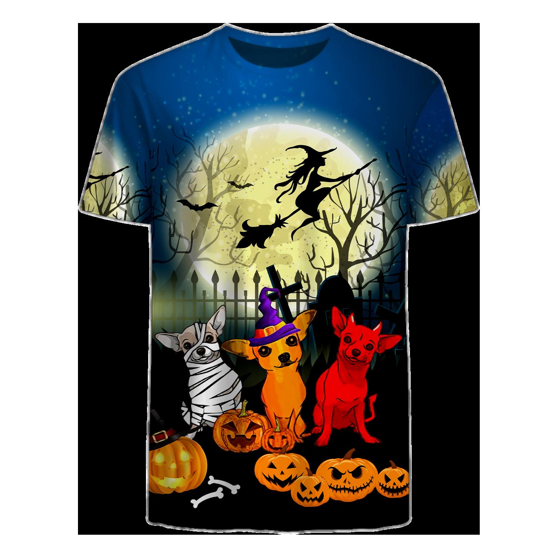 Dachshund Halloween Big Moon T shirt 3D