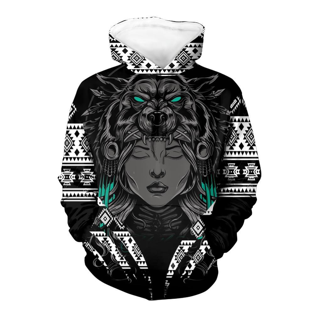 Girl Native Wolf 3D Hoodie